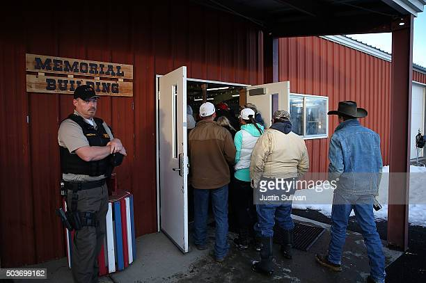 Harney County residents arrive for a community meeting at the Harney County fairground on January 6 2016 in Burns Oregon Hundreds of Harney County...