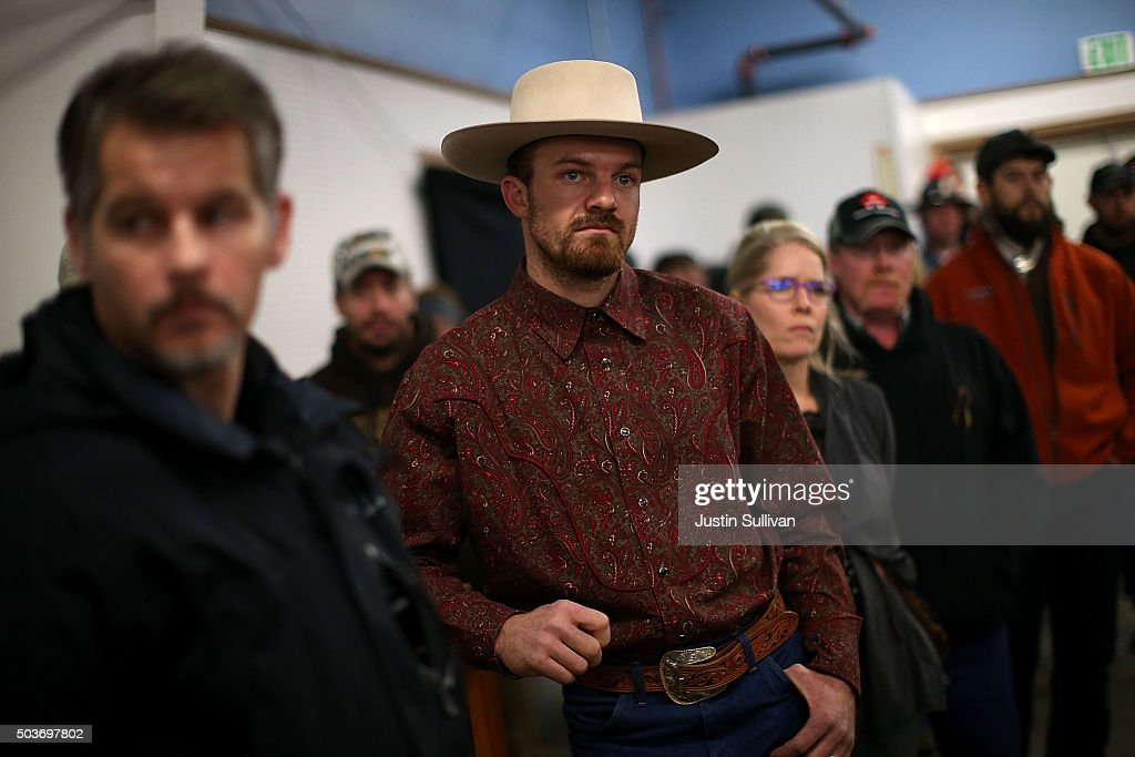 Harney County residents look on as Harney County Sheriff