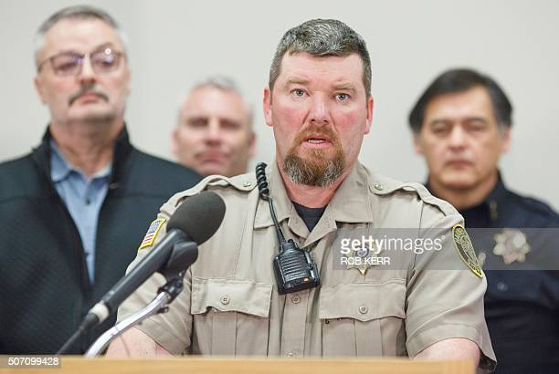 Harney County Sheriff Dave Ward addresses a press conference at the Harney County Chamber of Commerce January 27 2016 in Burns Oregon Authorities...