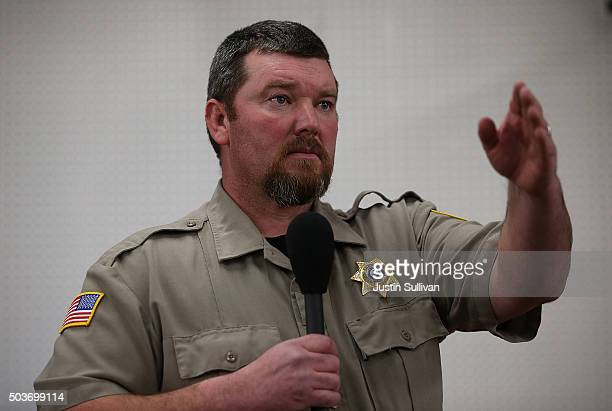 Harney County Sheriff David Ward speaks during a community meeting at the Harney County fairground on January 6 2016 in Burns Oregon Hundreds of...