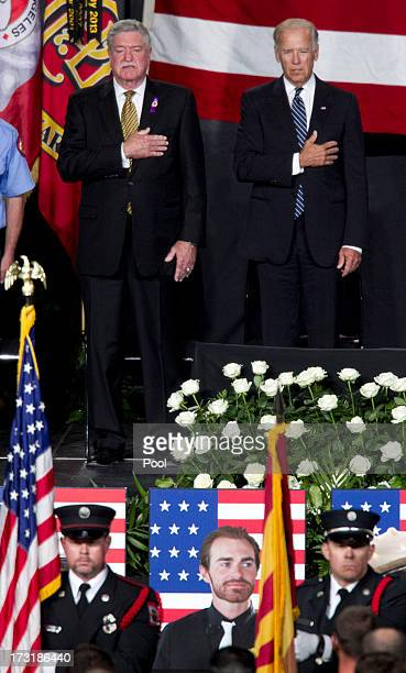 Harold A Schaitberger General President of the International Association of Firefighters and US Vice President Joe Biden stand during the National...