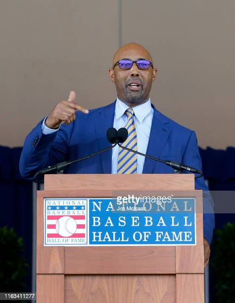 Harold Baines gives his speech during the Baseball Hall of Fame induction ceremony at Clark Sports Center on July 21 2019 in Cooperstown New York