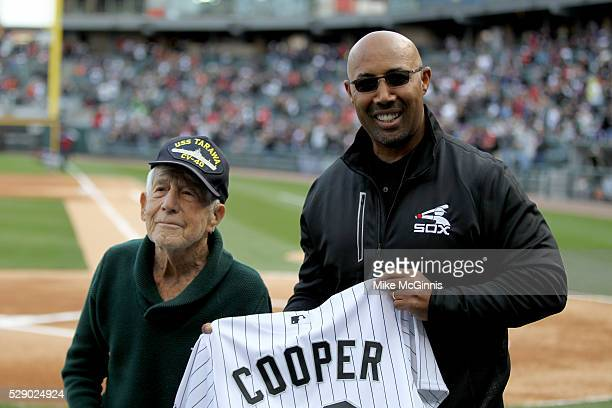 Harold Baines of the Chicago White Sox and Veteran Leon Cooper before the game against the Minnesota Twins at US Cellular Field on May 07 2016 in...