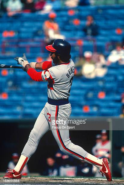 Harold Baines of the Chicago White Sox bats against the Baltimore Orioles during an Major League Baseball game circa 1983 at Memorial Stadium in...