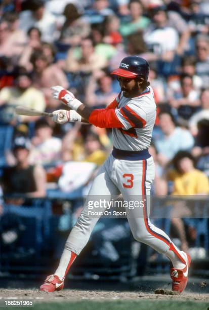 Harold Baines of the Chicago White Sox bats against the Baltimore Orioles during an Major League Baseball game circa 1982 at Memorial Stadium in...