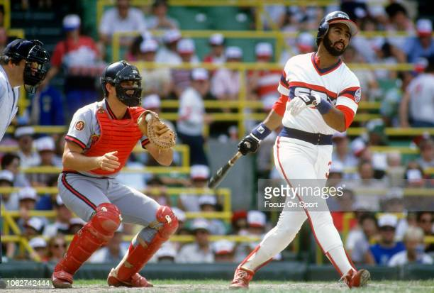 Harold Baines of the Chicago White Sox bats against the California Angels during an Major League Baseball game circa 1982 at Comiskey Park in Chicago...