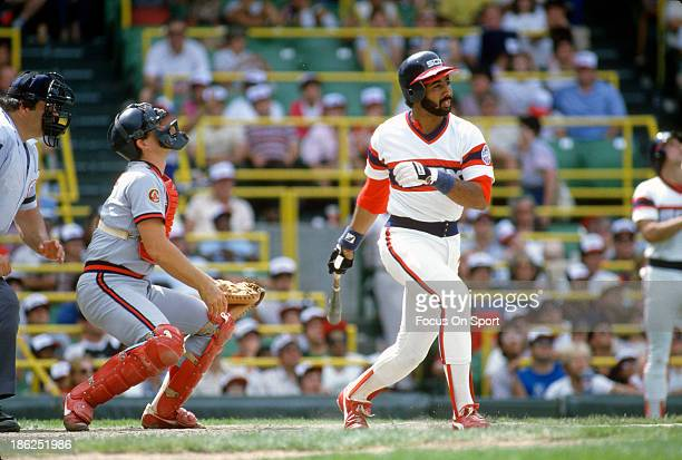Harold Baines of the Chicago White Sox bats against the California Angels during an Major League Baseball game circa 1987 at Comiskey Park in Chicago...