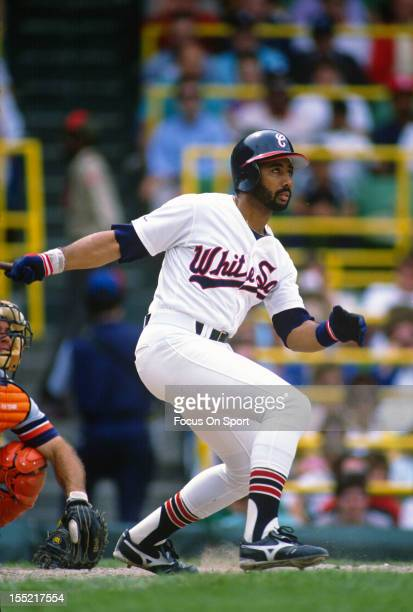 Harold Baines of the Chicago White Sox bats against the Detroit Tigers during an Major League Baseball game circa 1987 at Comiskey Park in Chicago...
