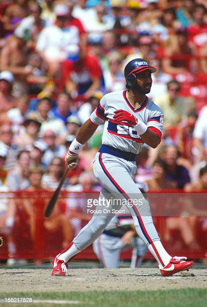 Harold Baines of the Chicago White Sox bats against the Milwaukee Brewers during an Major League Baseball game circa 1982 at Milwaukee County Stadium...