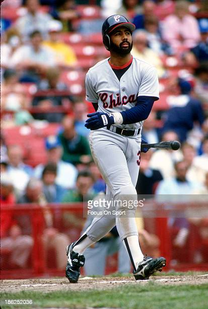 Harold Baines of the Chicago White Sox bats against the Milwaukee Brewers during an Major League Baseball game circa 1988 at Milwaukee County Stadium...