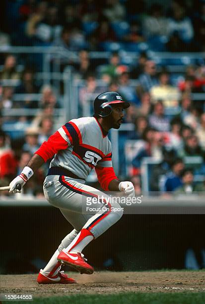 Harold Baines of the Chicago White Sox bats against the New York Yankees during an Major League Baseball game circa 1982 at Yankee Stadium in the...