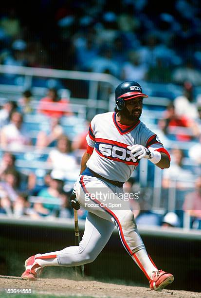 Harold Baines of the Chicago White Sox bats against the New York Yankees during an Major League Baseball game circa 1984 at Yankee Stadium in the...