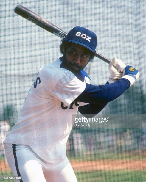 Harold Baines of the Chicago White Sox bats during a spring training game in Sarasota Florida Baines played for the White Sox from 19801989 then...