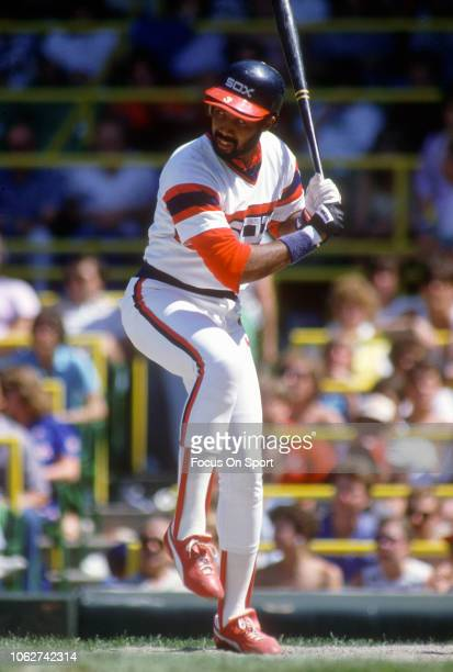 Harold Baines of the Chicago White Sox bats during an Major League Baseball game circa 1982 at Comiskey Park in Chicago Illinois Baines played for...