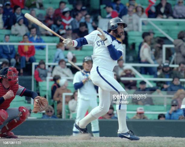 Harold Baines of the Chicago White Sox bats during an MLB game at Comiskey Park in Chicago Illinois Baines played for the White Sox from 19801989...