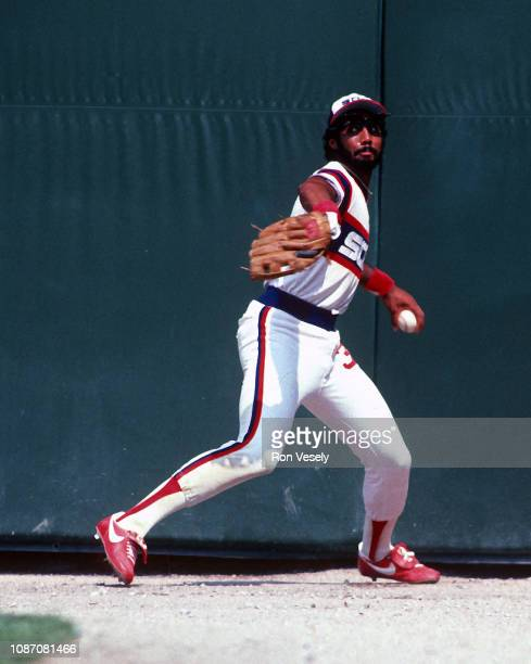 Harold Baines of the Chicago White Sox fields during an MLB game at Comiskey Park in Chicago Illinois Baines played for the White Sox from 19801989...
