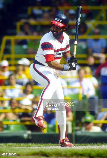 Harold Baines of the Chicago White Sox looks on during an MLB game at Comiskey Park in Chicago Illinois Baines played for the White Sox from...