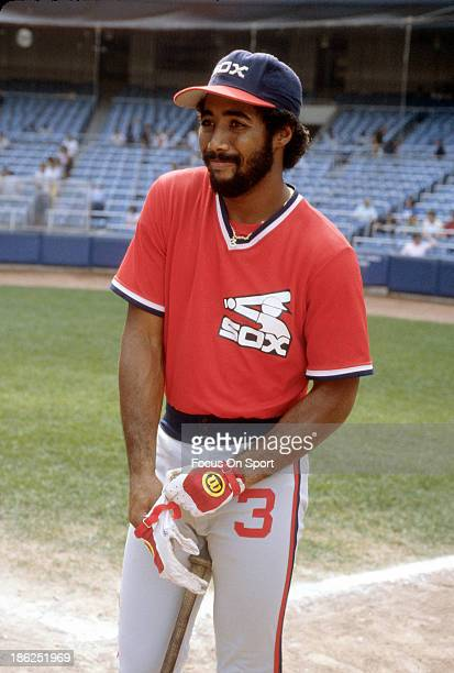 Harold Baines of the Chicago White Sox looks on during batting practice prior to playing a Major League Baseball game against the New York Yankees...