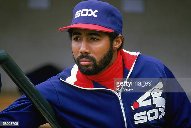 Harold Baines of the Chicago White Sox looks out into the field during a game Harold Baines played for the Chicago White Sox from 19801989