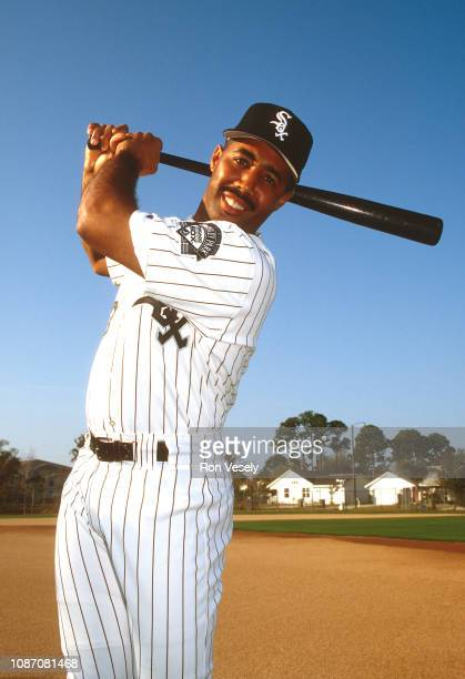 Harold Baines of the Chicago White Sox poses for a photo prior to an MLB game spring training game in Sarasota Florida Baines played for the White...