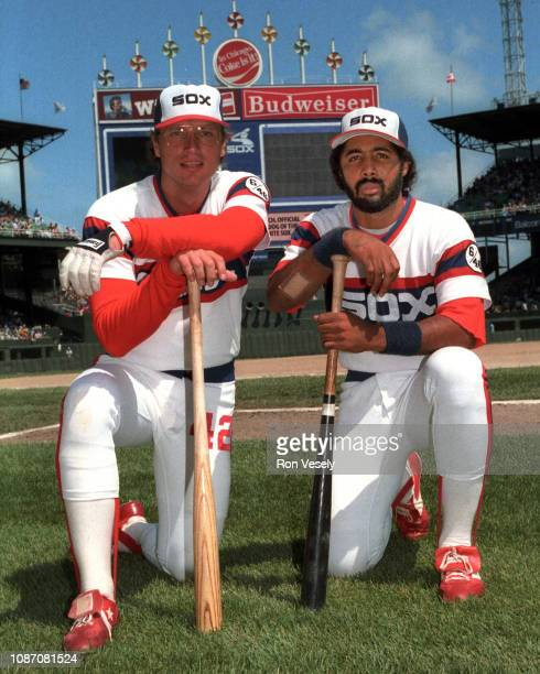 Harold Baines of the Chicago White Sox poses for a photo prior to an MLB game at Comiskey Park in Chicago Illinois with Ron Kittle Baines played for...