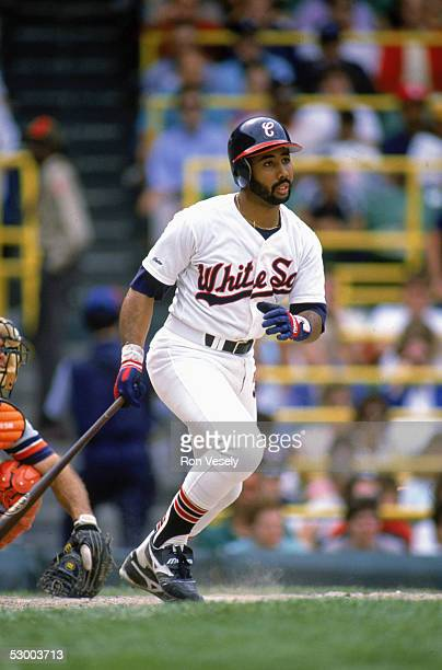 Harold Baines of the Chicago White Sox readies to run to first base during a game Harold Baines played for the Chicago White Sox from 19801989