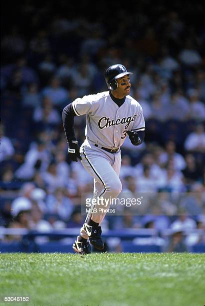Harold Baines of the Chicago White Sox runs during an MLB game at Tiger Stadium in Detroit Michigan