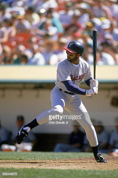 Harold Baines of the Chicago White Sox steps into the swing during a 1989 season game against the Oakland Athletics at OaklandAlameda County Coliseum...