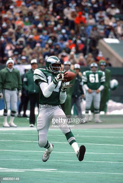 Harold Carmichael of the Philadelphia Eagles catches a pass action during an NFL football game circa 1975 at Veteran Stadium in Philadelphia...