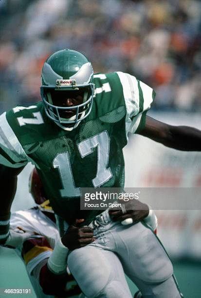 Harold Carmichael of the Philadelphia Eagles in action against Ken Stone of the Washington Redskins during an NFL football game October 5 1975 at...