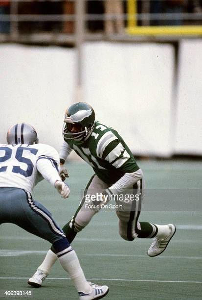 Harold Carmichael of the Philadelphia Eagles in action against the Dallas Cowboys October 26 1975 during an NFL football game at Veteran Stadium in...