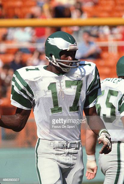 Harold Carmichael of the Philadelphia Eagles looks on during pregame warm ups prior to an NFL football game circa 1973 Carmichael played for the...