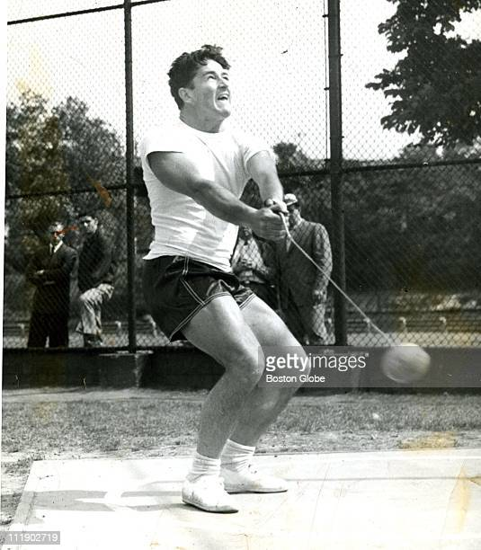 Harold Connolly hammer thrower formerly of boston college practices July 3 1960