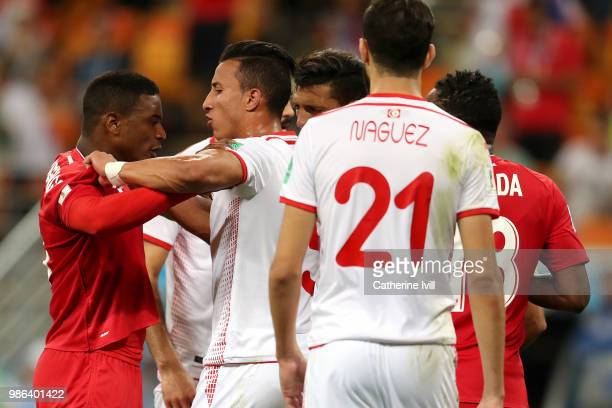 Harold Cummings of Panama clashes with Ahmed Khalil of Tunisia during the 2018 FIFA World Cup Russia group G match between Panama and Tunisia at...