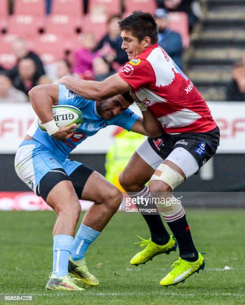 Harold Foster of the Lions tackling during the Super Rugby match between Emirates Lions and Vodacom Bulls at Emirates Airline Park on July 14 2018 in...