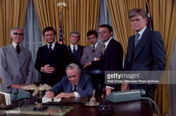 Harold Gould, Cliff Robertson, Andy Griffith, Tony Bill, Robert Vaughn, Barry Nelson, Jason Robards appearing in the ABC tv mini-series 'Washington:...