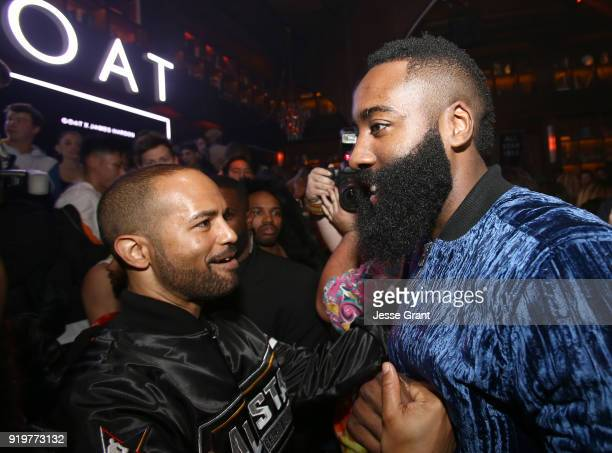 Harold Hadnott and James Harden attend GOAT and James Harden celebrate NBA AllStar Weekend 2018 at Poppy on February 17 2018 in Los Angeles California