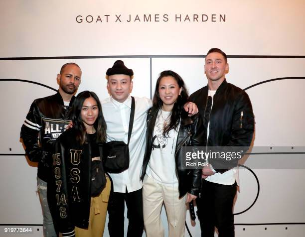 Harold Hadnott guests GOAT Editorial Content Manager Diane Abapo and GOAT Social Media Manager Adam Cannella attend GOAT and James Harden Celebrate...