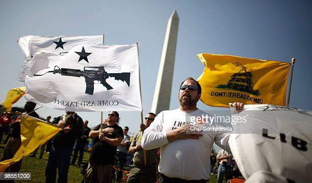Harold Hopkins of Buffalo New York sings the National Anthem with about 500 other progun demonstrators during a rally in support of the Second...