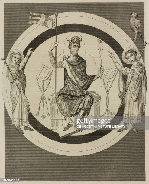 Harold I King of England miniature from 1036 engraving by Lemaitre from Angleterre volume I by Leon Galibert and Clement Pelle L'Univers pittoresque...