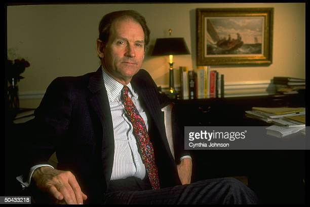 Harold Ickes, Pres. Clinton's WH dep. Chief of staff, in his office.