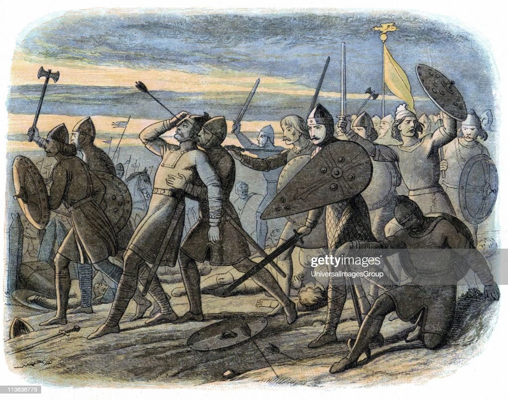 Harold II (c1022-1066) Nominated as his successor as King of Angles and Saxons by Edward the Confessor. Harold killed by Norman arrow at Battle of Hastings 1066. Colour-printed wood engraving 1864. Artist James Doyle. : News Photo