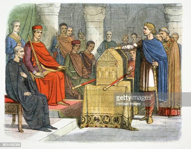 Harold II swears fidelity to Duke William of Normandy 1064 Harold swearing an oath on sacred relics before William of Normandy to support his claim...