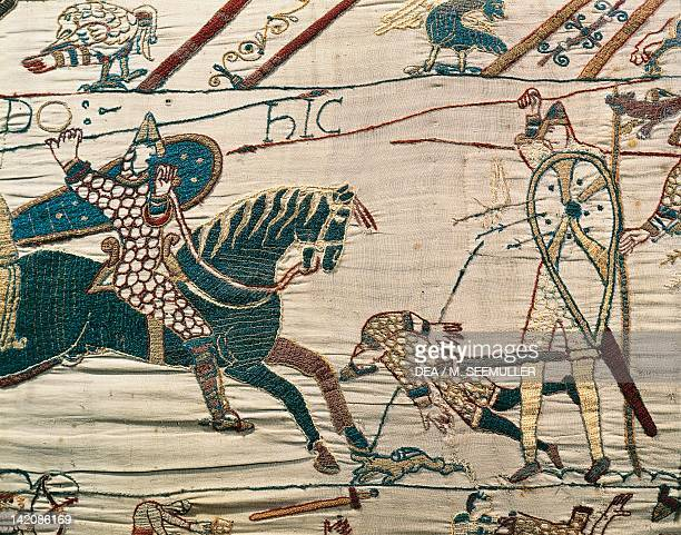 Harold killed by chance arrow detail of Queen Mathilda's Tapestry or Bayeux Tapestry depicting Norman conquest of England in 1066 France 11th century
