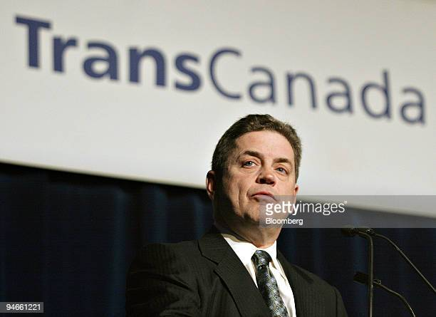 Harold Kvisle president and chief executive officer of TransCanada Corp speaks to shareholders during the companies annual general meeting Calgary...
