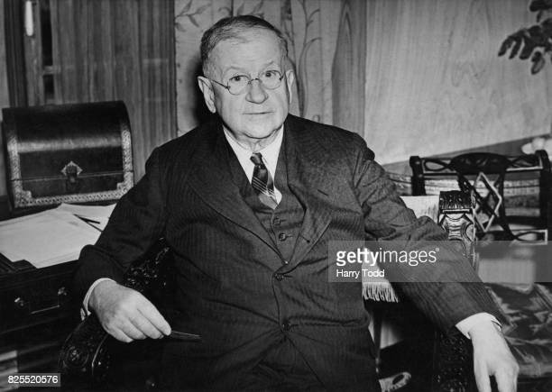 Harold L Ickes , the United States Secretary of the Interior, in London for oil negotiations with Baron Shinwell, the British Minister of Fuel and...