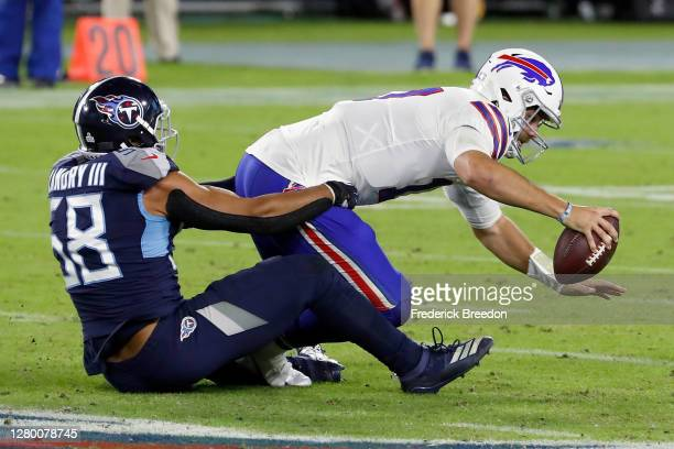 Harold Landry III of the Tennessee Titans sacks Josh Allen of the Buffalo Bills in the second quarter at Nissan Stadium on October 13, 2020 in...