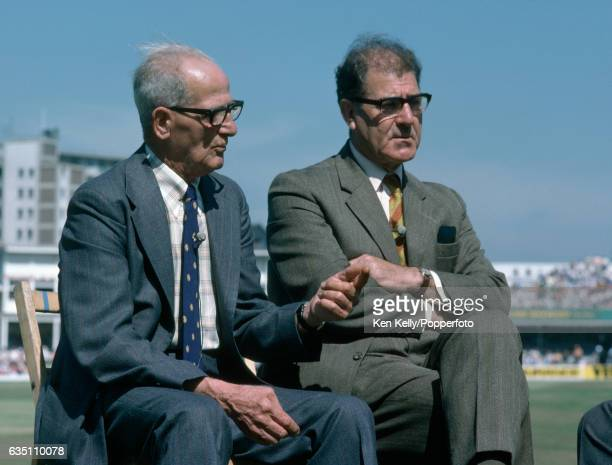 Harold Larwood and Bill Voce both former England and Nottinghamshire bowlers are interviewed for television during the 3rd Test match between England...