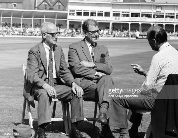 Harold Larwood and Bill Voce, both former England and Nottinghamshire bowlers, are interviewed for television by Peter West during the 3rd Test match...