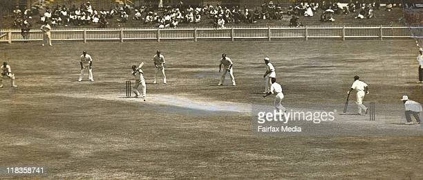 Harold Larwood bowling to Stan McCabe during the controversial bodyline cricket tests in Australia during 193233 The other batsman is Don Bradman